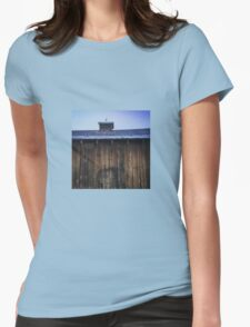 Rustic side of barn with tin roof Womens Fitted T-Shirt