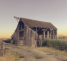 Rustic collapsing barn at sunset by JULIENICOLEWEBB