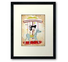 Carousel ribbon striped circus lighting bugs colorful whimsical streaks magic vintage ride doll print  Framed Print