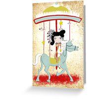 Carousel ribbon striped circus lighting bugs colorful whimsical streaks magic vintage ride doll print  Greeting Card