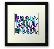 Know Your Worth Blue/Purple Framed Print