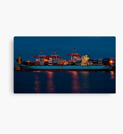 Cargo ship on loading in the port Canvas Print