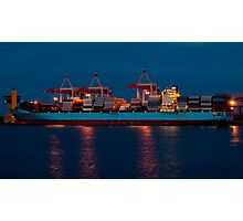 Cargo ship on loading in the port Photographic Print