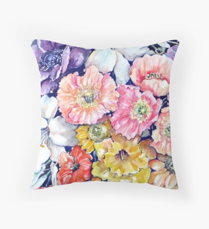 """Flower """"Tapestry"""" in Watercolour Pencils Throw Pillow"""