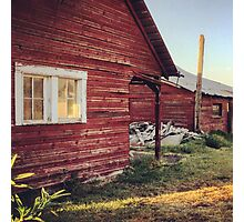 Rustic abandoned red cottage  Photographic Print