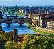 Impressions Of Florence - Long Blue Shadows on the Arno River by Georgia Mizuleva