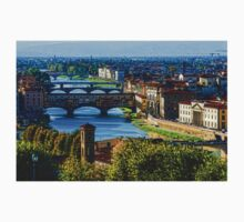 Impressions Of Florence - Long Blue Shadows on the Arno River One Piece - Short Sleeve