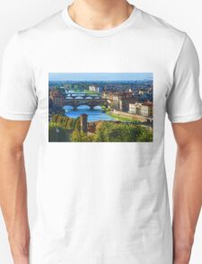 Impressions Of Florence - Long Blue Shadows on the Arno River T-Shirt