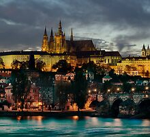 Charles Bridge and Hradcany by night by Stevacek