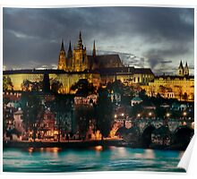 Charles Bridge and Hradcany by night Poster