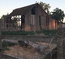 Distressed wooden barn watching the sun go down  by JULIENICOLEWEBB