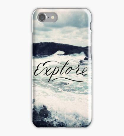 Explore Beach Wave Ocean Typography Photo iPhone Case/Skin