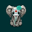« Teal Blue Day of the Dead Sugar Skull Baby Elephant » par jeff bartels