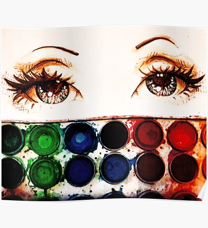 watercolor eyes Poster