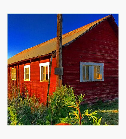 Bright red barn with rusty tin roof Photographic Print