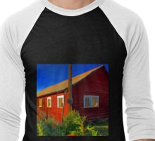 Bright red barn with rusty tin roof Men's Baseball ¾ T-Shirt