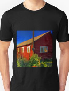 Bright red barn with rusty tin roof Unisex T-Shirt