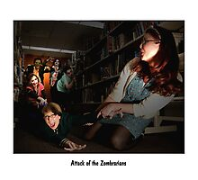 Attack of the zombrarians Photographic Print
