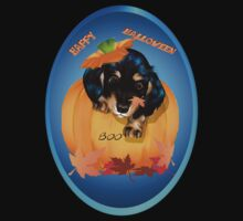 Halloween Dashund Puppy-Boo Oval by Lotacats