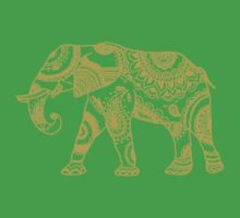Patterned Elephant - Gold Kids Clothes