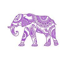 Patterned Elephant - Purple by eliannadraws