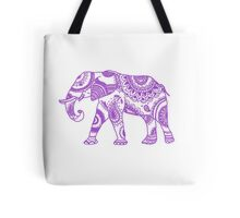 Patterned Elephant - Purple Tote Bag