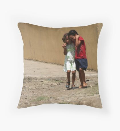 girls in the streets of Hato de  Throw Pillow