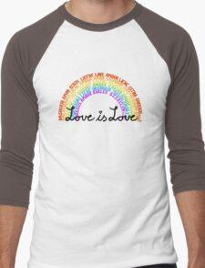 "LGBTQ+ Rainbow ""Love is Love"" multi-language  Men's Baseball ¾ T-Shirt"