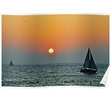 Sunset View from Redondo Beach Pier (Los Angeles) Poster