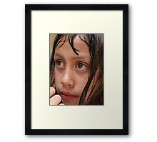Young girl 8 years old, swimming, big brown eyes Framed Print