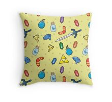 Zelda Inspired Item Bag Pattern Throw Pillow