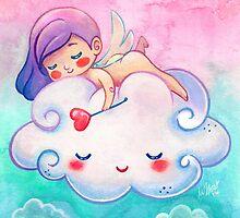 Sleeping Little Angel Cherub & Cloud  by beaglecakes