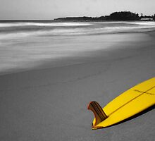 Yellow Longboard - Mollymook Beach by Steve Fox