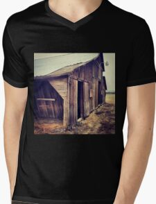 Rustic Red Barn with Tin Roof Mens V-Neck T-Shirt