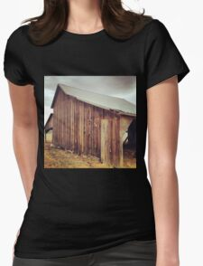Rustic Red Barn with Tin Roof Womens Fitted T-Shirt