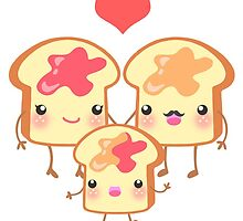 The Strawberry Peanut Butter Toast Family by beaglecakes