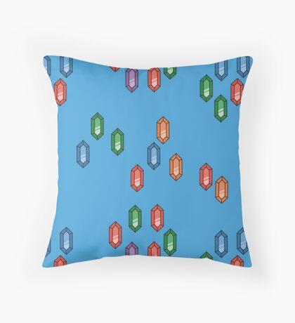 Zelda Inspired Rupee Pattern - Blue Throw Pillow