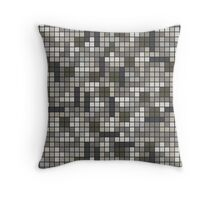 Tetris Inspired Grayscale Pattern Throw Pillow