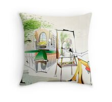 wall of painting Throw Pillow