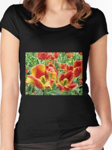 Yellow and Red Tulips For Everyone Women's Fitted Scoop T-Shirt