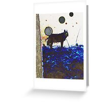 Top Dog And Orbs At Midnight Greeting Card