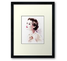 Watercolor illustration. Beautiful young woman Framed Print