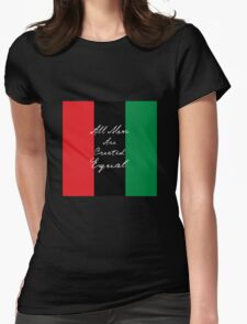 All Men Are Equal Afro Flag Womens Fitted T-Shirt
