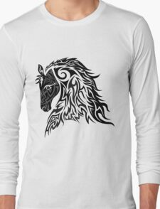 Tribal Tattoo Style Horse Long Sleeve T-Shirt