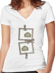 Two Little Birdies Women's Fitted V-Neck T-Shirt