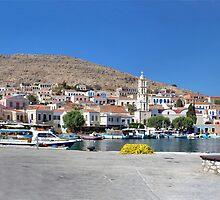 Halki Harbour Panorama by Tom Gomez