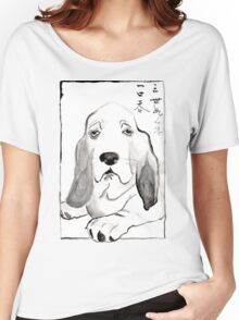 Hound in Japanese Ink Wash Women's Relaxed Fit T-Shirt