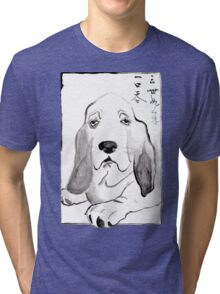 Hound in Japanese Ink Wash Tri-blend T-Shirt