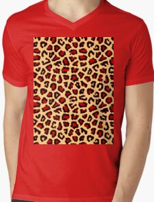Leopard Print Red/Black Mens V-Neck T-Shirt