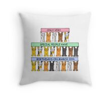Cats celebrating birthdays on March 10th. Throw Pillow